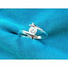 Brand New Sterling Silver Clear Cubic Zirconia Ring size N Free P&P