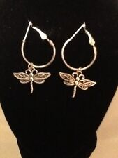 Dragon fly hoop earrings silver plated