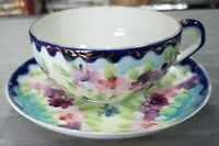Early 20th Cent. Japanese Porcelain Hand Painted Floral Pattern Teacup & Saucer