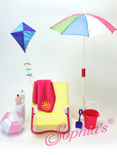 "Beach Set Umbrella chair pail shovel pretend play for 18"" American Girl Dolls"