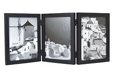 Wood Folding Vertical Photo Frames for Triple 5x7 Photos with Real Glass, Black