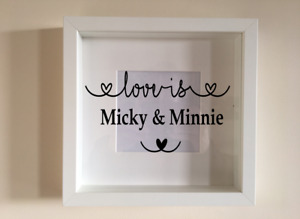 Box Frame Vinyl Decal Sticker Wall art Quote Love is personalised names