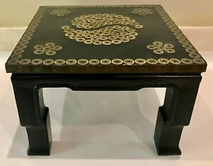 """Vintage Asian Bronze Coin Mid Century Modern Side Table Black Lacquered 18""""x18"""""""