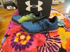 Brand New Boys Blue & Yellow Under Armour X Level Splitspeed Tennis Shoes, 4