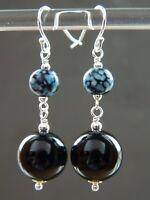 Black Onyx Gemstone, Art Deco Marbled Turquoise Glass Bead & 925 Silver Earrings