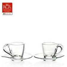 TAZZINA CAFFE' IN VETRO CON PIATTINO RCR HAPPY ESPRESSO CONFEZIONE 6 TAZZINE
