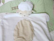 Child of Mine White Plush w Corduroy Belly Crinkle Lamb Sheep Baby Mat Blanket