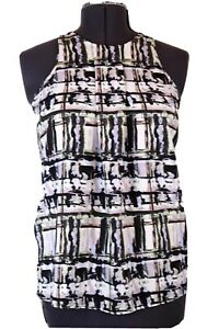 Women's Small by LIGHT, sleeveless pleated blouse, top, shell, abstract print