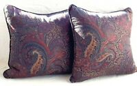 VINTAGE Ralph Lauren Throw Pillows in Paisley Blue Red Gold - A Pair - Made USA!