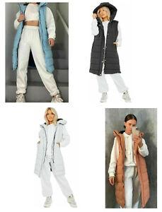 Ladies womens Hooded Puffer Gilet Long Line Padded waistcoat Jacket Body Warmer