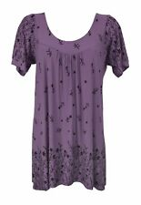 New Women Ladies Pleat Short Sleeve Purple Half Print Smock Top Plus Size 16-30
