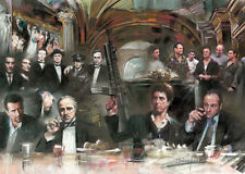 Scarface Soprano Godfather Good fellas collage Artwork sign by Haiyan POSTER