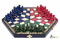 3 THREE PLAYERS WOODEN CHESS SET - 3 COLOUR - RULES INCLUDED - CHECK IT BARGAIN!