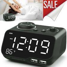 Dual Digital Alarm Clock With Radio Dual Usb Charging Auto Off Timer Snooze