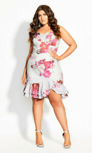 CITY CHIC S 16 NWT RRP $159.95 DRESS SAKURA FLORAL