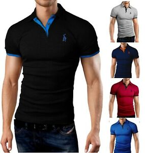 Men's Polo Shirt Short Sleeve Slim Fit Stretchable Fabric Muscle Fit PL01