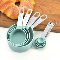 4Pcs Measuring Cups Spoons Baking Cooking Kitchen Tools Set Stainless Steel + PP
