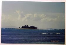 Vintage 2000s PHOTO View of Island in Distance Surrounded by Very Blue Water