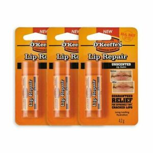 OKeeffes Lip Repair Stick 4.2g - Lip Balm - Unscented CRACKED CHAPPED LIPS x 3