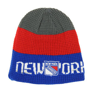 Reebok New York Rangers NHL Youth (8-20) Waffle Knit Hat, Blue/Red, One Size