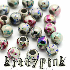 50 Kitsch Acrylic 8mm Round Mixed Colour Spacer Beads Plastic Necklace