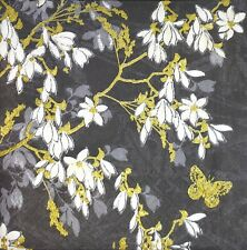 3 x Single Paper Napkins For Decoupage Black White Chineese Flower Pattern N504