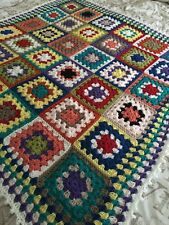 New Handmade Vintage Style Crocheted Granny Blanket 48 Inches Squared