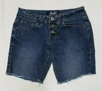 Angels Jean Shorts Womens Cut Off Denim Low Rise Flap Pocket Button Fly Size 1