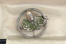 Vintage Sterling Silver & Green Enamel Acorn Brooch Oak Tree Leaf  (D6J1)