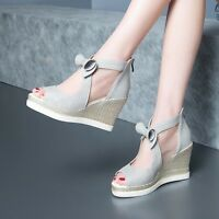 AU Hot Womens Peep Toe Bowknot Mesh Woven Wedge Heels Sandals Shoes Shiny Size