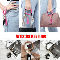Wristlet Circle Multi-Color Leather Rope Strap Tassel Key ring Key chain Key Fob
