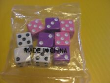 3 Pink 3 Purple and 3 White Bunko Dice 9 Total, as Pictured
