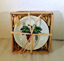 """New Olive Oil Dipping Bowl Grape Wine Design 4.5"""" Boxed Gift"""