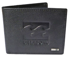"""BRAND NEW IN GIFT BOX BILLABONG """"WAVE"""" MENS BLACK LEATHER TRI FOLD WALLET BNWT"""