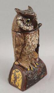 Antique 19thC J E Stevens OWL TURN HEAD Cast Iron Mechanical Bank, No Reserve!