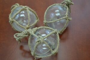 """3 PCS REPRODUCTION CLEAR GLASS FLOAT BALL WITH FISHING NET 5"""" #F-902"""
