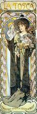 """La Tosca Arte Nouveau Deco impresión Alphonse Mucha 16x5 """"Poster Nuevo Sarah Bernhardt"""
