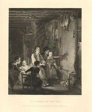 Children, Father, Shadow Picture, Family Scene, Vintage, 1878 Antique Art Print,
