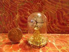 New~Elegant Gold Glass Dome Mantle Clock Dollhouse Miniatures Dome Clock Reg.$49