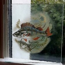 Stained Glass Perch fish Kiln fired pane insert fishing gift 15 cm x 15 cm