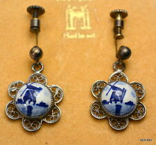 A. Colamonici Naples Italy Nieuwpoort Holland Silver Blue White Earrings Clips