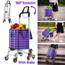 8 Wheels Folding Stair Climbing Shopping Cart Trolley Double Handles w/