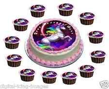 Cake topper + 12 cupcakes edible icing Unicorn horse birthday REAL FONDANT