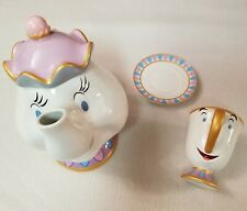 Disney Mrs Potts Teapot with Chip Tea Cup Mug and Saucer Beauty Beast Excellent