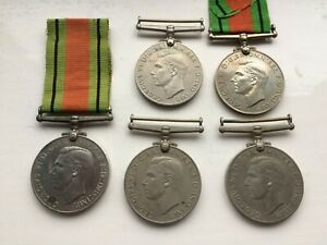 nice looking lot 5 full size original WW2 era defence medals