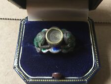 CHINESE 17th-18th CENTURY ENAMEL+SILVER RING WITH COMPASS+FROGS MOTIF/SIZE 6 1/4
