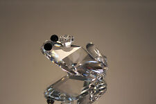 SWAROVSKI SILVER CRYSTAL FROG PRINCE BLACK EYES 7642 NR 48 MINT IN BOX