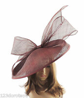 Burgundy Large Ascot Hat for Weddings, Ascot, Derby B7