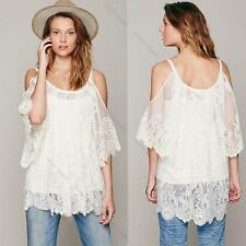Vintage Hippie Boho Embroidery Floral Lace Crochet #L Sexy Mini Dress Tops Beach