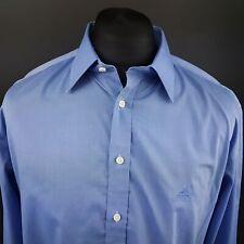 Adidas para hombre Camisa Vintage 44 (XL) Manga Larga Azul Regular Fit no patrón de algodón